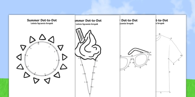 Summer Dot-to-Dots Polish Translation - polish, EYFS, Early Years, counting, fine motor skills, summer, holidays, dot-to-dot