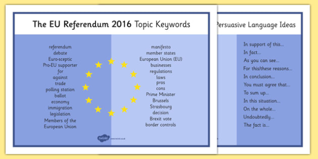 EU Referendum 2016 Keyword Mat - EU, referendum , vote, ballot, Thursday 23rd June 2016, European Union, keywords, word mat, persuasive language, terminology