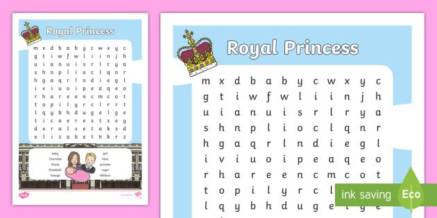 Royal Princess Wordsearch - royal princess, wordsearch, royal