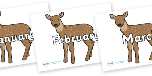 Months of the Year on Fawns - Months of the Year, Months poster, Months display, display, poster, frieze, Months, month, January, February, March, April, May, June, July, August, September