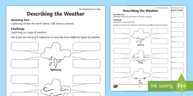 Describing the Weather Worksheet / Worksheet (teacher made)