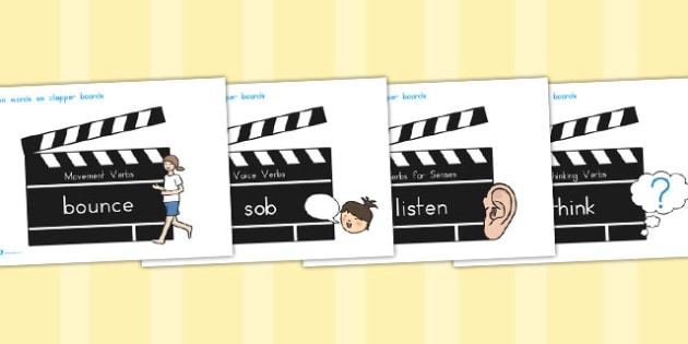 Action Words Verbs On Clapper Boards - australia, action, verbs