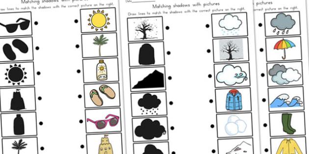 Winter Shadow Matching Worksheet Temperate - matching, seasons