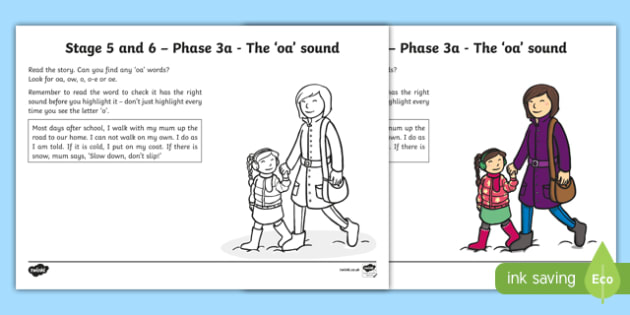 Northern Ireland Linguistic Phonics Stage 5 and 6 Phase 3a, 'oa' sound Activity Sheet, worksheet