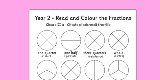 Year 2 Read and Colour a Fraction Romanian Translation - romanian, fractions, colours, reading