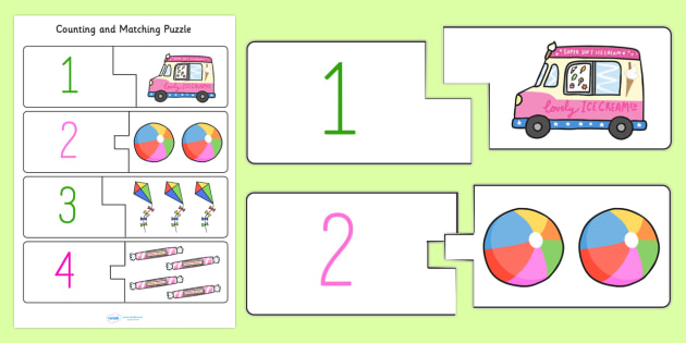 Seaside Themed Counting Matching Puzzle - counting aid, count