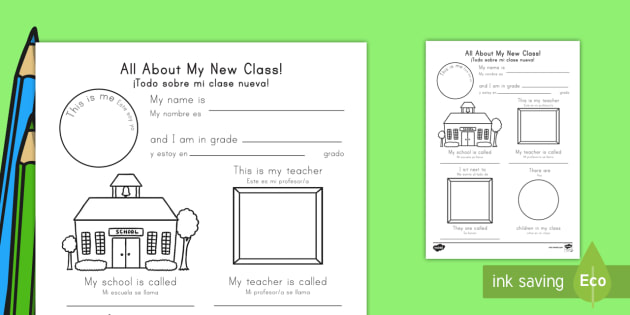 All about my new class worksheet us englishspanish latin all about my new class worksheet us englishspanish latin ourselves ccuart Image collections