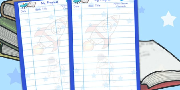 Space Themed Reading Record Teacher Parent Note Sheet - australia