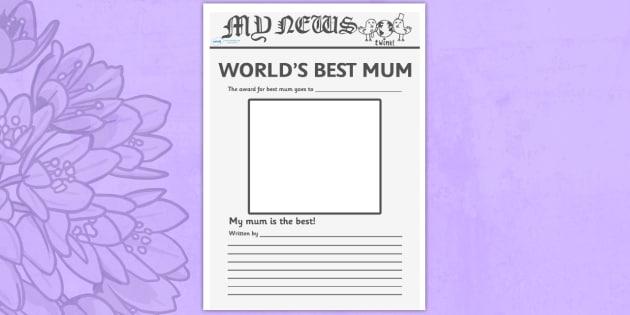 Worlds Best Mum Newspaper Template Worlds Best Mum Newspaper