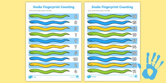 Snake Fingerprint Counting Activity Sheet Pack - EYFS activities, number, maths, finger prints, EAD, safari, savannah, zoo, jungle, Africa, worksheet