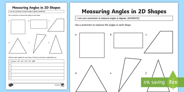 Measuring Angles In Shapes Worksheet Activity Sheet