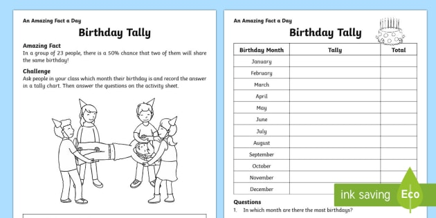 birthday tally worksheet worksheet. Black Bedroom Furniture Sets. Home Design Ideas