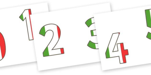0-9 Display Numbers (Italian) - 0-10, foundation stage numeracy, Number recognition, Number flashcards, counting, number frieze, Display numbers, number posters