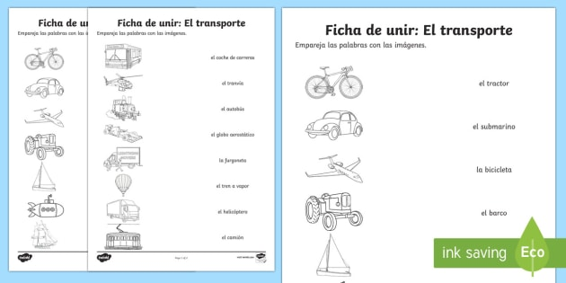 transport word and picture matching worksheet worksheet spanish spanish. Black Bedroom Furniture Sets. Home Design Ideas