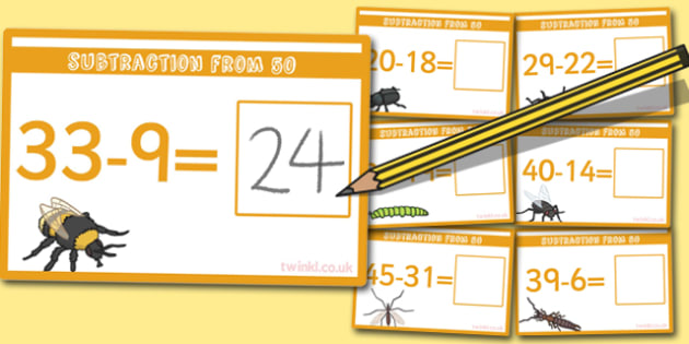 Subtraction From 50 Cards - subtraction, cards, 50, from 50