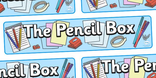 Stationary Shop Pencil Box Display Banner - shop, stationary, pencil, paper, display, banner, sign, poster, pens, pen, staples, ruler, rubber, stapler, crayon