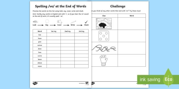 year 1 spelling practice v spelled 39 ve 39 homework worksheet worksheet. Black Bedroom Furniture Sets. Home Design Ideas