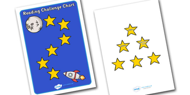 Reading Challenge Chart (Space) - Challenge Chart, Reading chart, literacy, books, types of books, space, ship, rocket, aliens, launch, moon, stars, planet, planets