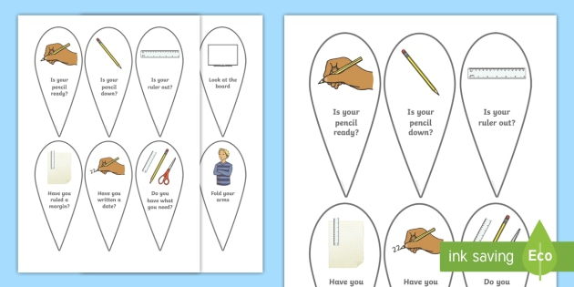 Start Of Lesson Preparation Fans - start of the lesson, is your pencil ready, ruler, date, write, prepare, being ready, fan, fans