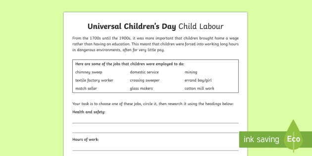 Universal Children's Day Child Labor Worksheet / Worksheet