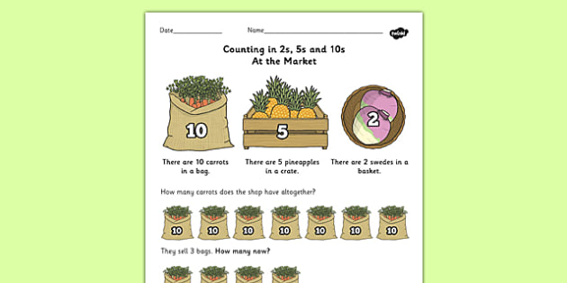 Counting In 2s 5s And 10s Multiplication Worksheet Worksheet