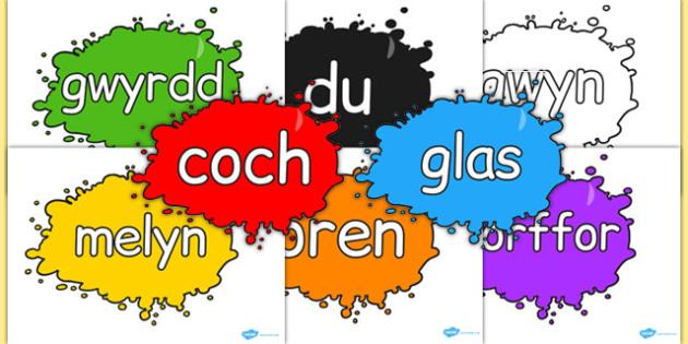 Lliwiau Sblat - cymraeg, colour names, colour, names, splat