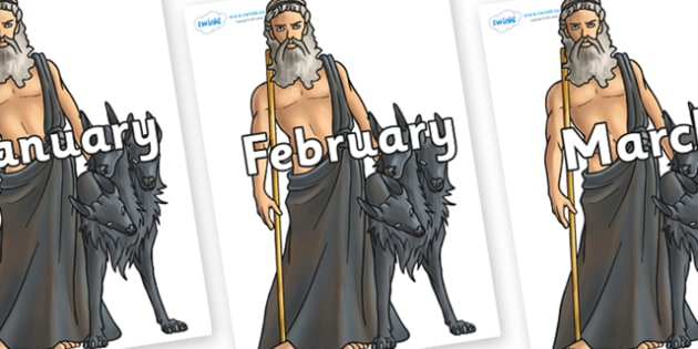 Months of the Year on Hades - Months of the Year, Months poster, Months display, display, poster, frieze, Months, month, January, February, March, April, May, June, July, August, September