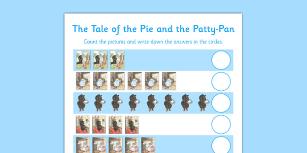 Beatrix Potter - The Tale of the Pie and the Patty Pan Counting Sheet - beatrix potter, pie, patty pan, counting