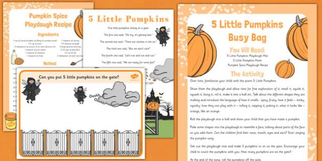 5 Little Pumpkins Busy Bag For Parents  - 5, little, pumpkins, busy bag, parents, eyfs