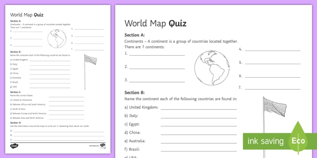 World Map Quiz - Geography, ks3, maps, quiz, activity, game, fun ...