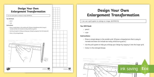 design your own enlargement transformation worksheet worksheet australian. Black Bedroom Furniture Sets. Home Design Ideas