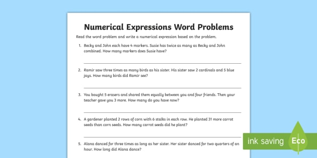 Numerical Expressions in Word Problems Worksheet / Activity