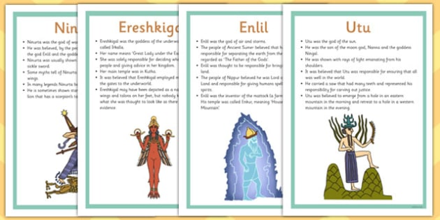 Ancient Sumer Gods and Goddesses Fact Posters - sumer, facts