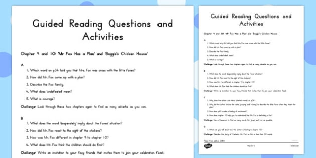 Guided Reading Questions Chapters 9 and 10 to Support Teaching on Fantastic Mr Fox - australia