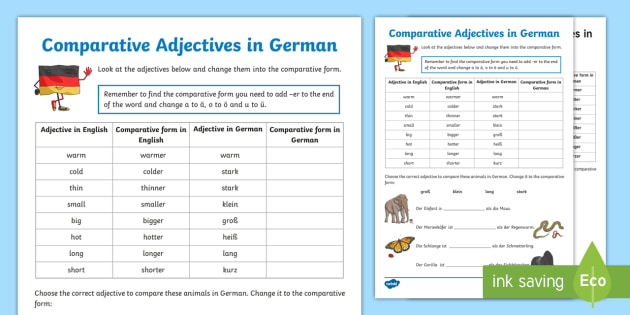comparative adjectives worksheet activity sheet german. Black Bedroom Furniture Sets. Home Design Ideas