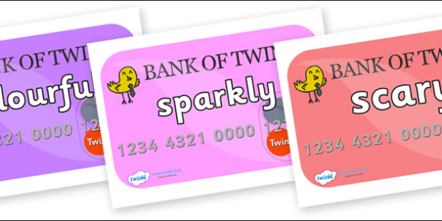 Wow Words on Debit Cards - Wow words, adjectives, VCOP, describing, Wow, display, poster, wow display, tasty, scary, ugly, beautiful, colourful sharp, bouncy