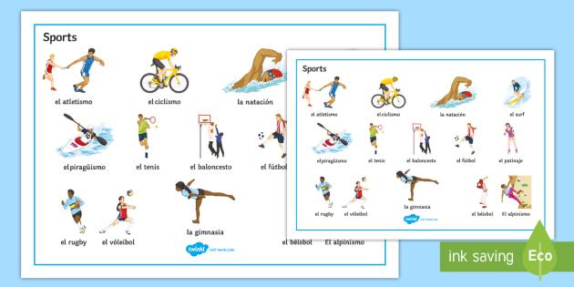 Sports Word Mat Spanish - Spanish, Vocabulary, sports, word, mat