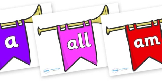 Foundation Stage 2 Keywords on Banners - FS2, CLL, keywords, Communication language and literacy,  Display, Key words, high frequency words, foundation stage literacy, DfES Letters and Sounds, Letters and Sounds, spelling