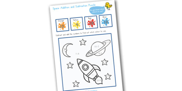 Space Addition and Subtraction Puzzle 0 20 - add, subtract, maths