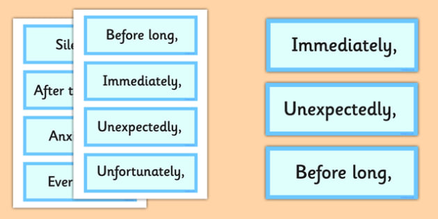Fronted Adverbial Cards - fronted adverbial, cards, adverbial