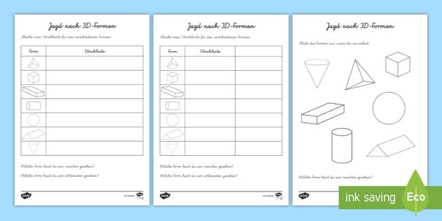 Jagd nach 3D-Formen Arbeitsblätter - Geometrie, Mathe, Figuren