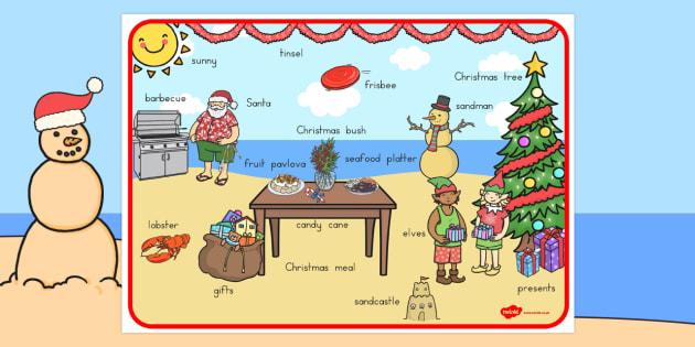 Christmas In Australia.Australian Christmas Scene Word Mat Australia Christmas Word