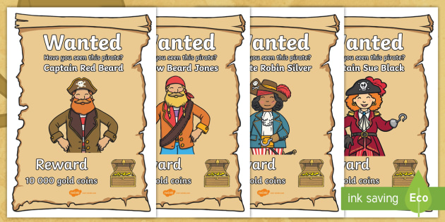 editable pirate wanted display posters