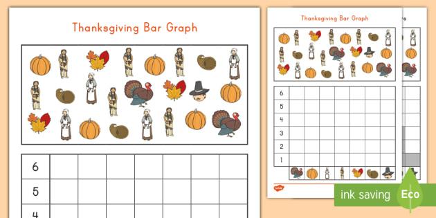 Thanksgiving Bar Graph Activity Sheet - fall, graphing, activity sheet, thanksgiving math activity sheet, Worksheet
