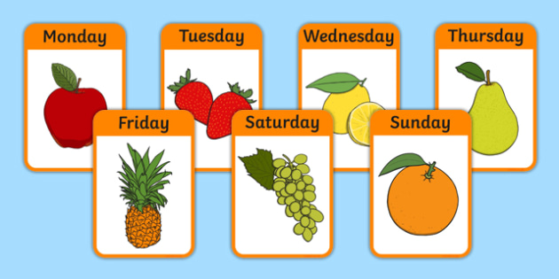 Days of the Week on Fruit Flash Cards - days of the week, fruit, flash cards, activity