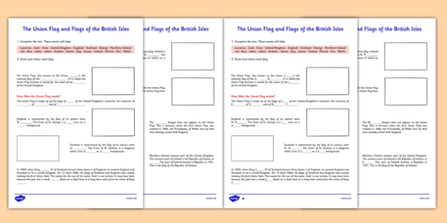 The Union Flag and Flags of the British Isles Activity Sheet - cfe, union flag, british isles, activity, sheet, worksheet