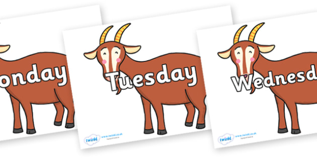 Days of the Week on Hullabaloo Goat to Support Teaching on Farmyard Hullabaloo - Days of the Week, Weeks poster, week, display, poster, frieze, Days, Day, Monday, Tuesday, Wednesday, Thursday, Friday, Saturday, Sunday