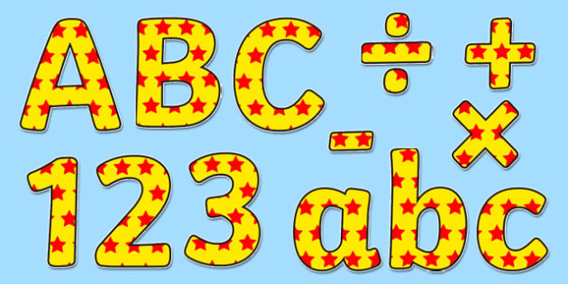 Yellow and Red Stars Display Lettering - letter, display