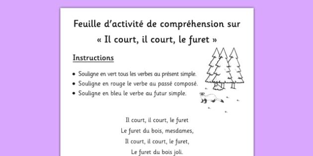 Feuille d'activité de compréhension sur Il court, il court, le furet French - french, comprehension, worksheet, il court, le furet
