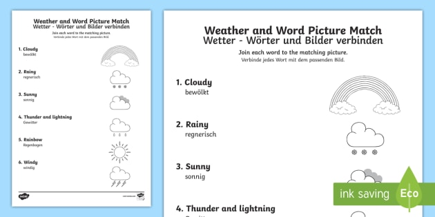 weather word and picture matching worksheet worksheet. Black Bedroom Furniture Sets. Home Design Ideas